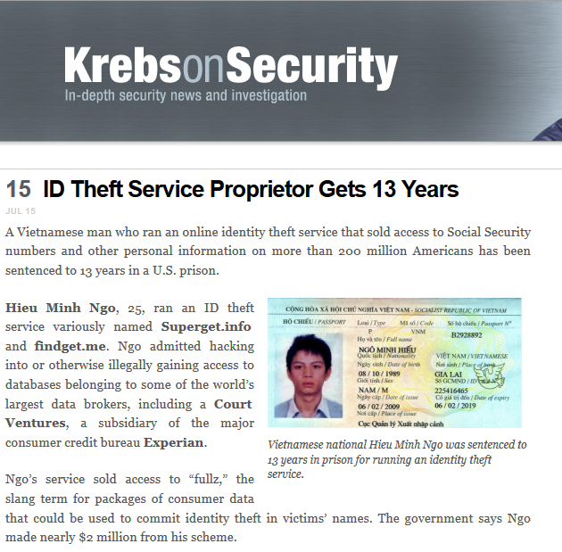 krebsonsecurityidtheftcaught